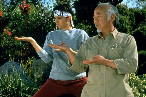 Mr. Myagi trains his pupil Daniel-san