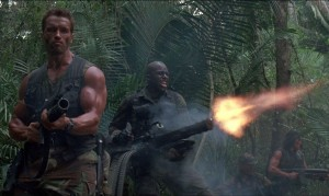 The soldiers use all their firepower in an attempt to kill the predator.