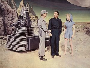 The crew meet Morpheus, Alta and Robby the Robot