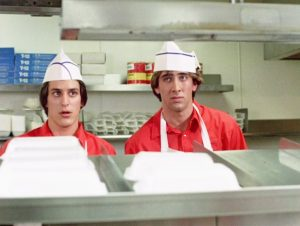 Nicolas Cage flipping burgers in Fast Times at Ridgemont High