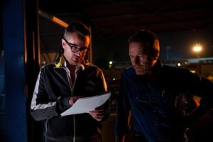 Director Winding Refn instructing his favorite actor Bryan Cranston