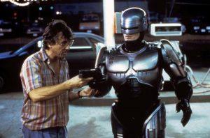 Paul Verhoeven directing his cyborg RoboCop
