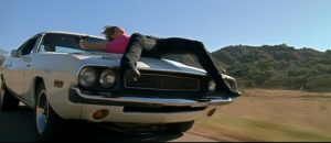 Stuntwoman Zoë Bell performing her own stuns in Death Proof